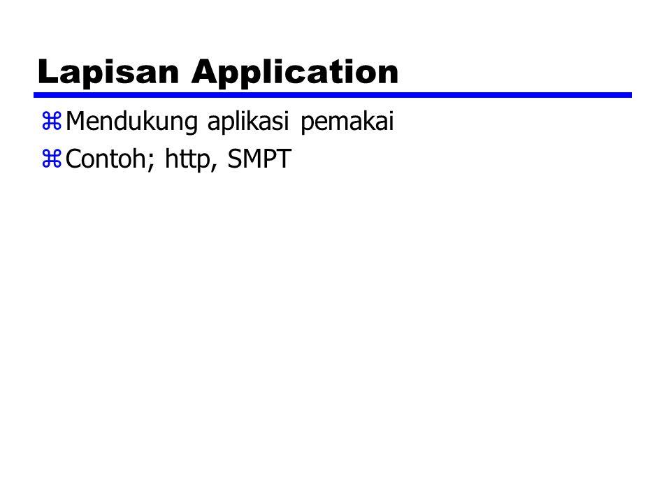 Lapisan Application zMendukung aplikasi pemakai zContoh; http, SMPT