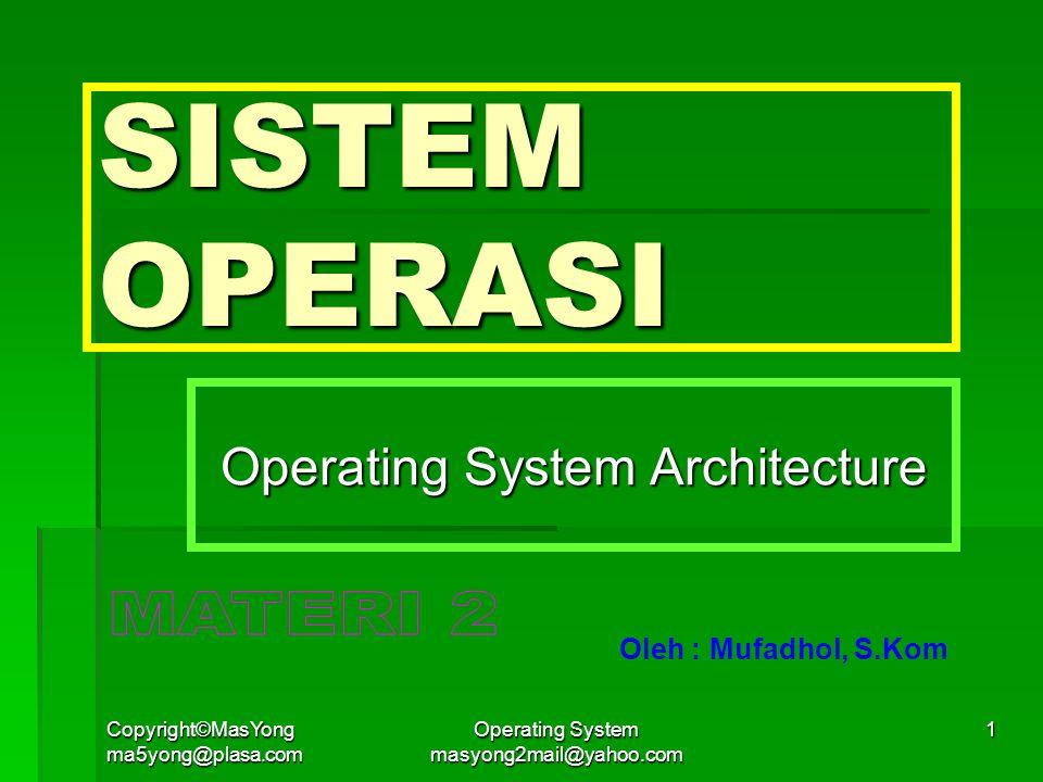 Copyright©MasYong ma5yong@plasa.com Operating System masyong2mail@yahoo.com 2 ARSITEKTUR SISTEM OPERASI  Model Sederhana  Monolitik System  Pendekatan Berlapis  Mikrokernel