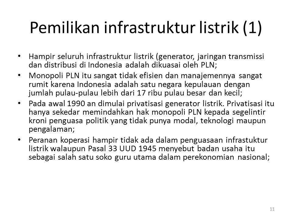 Pemilikan infrastruktur listrik (1) Hampir seluruh infrastruktur listrik (generator, jaringan transmissi dan distribusi di Indonesia adalah dikuasai o