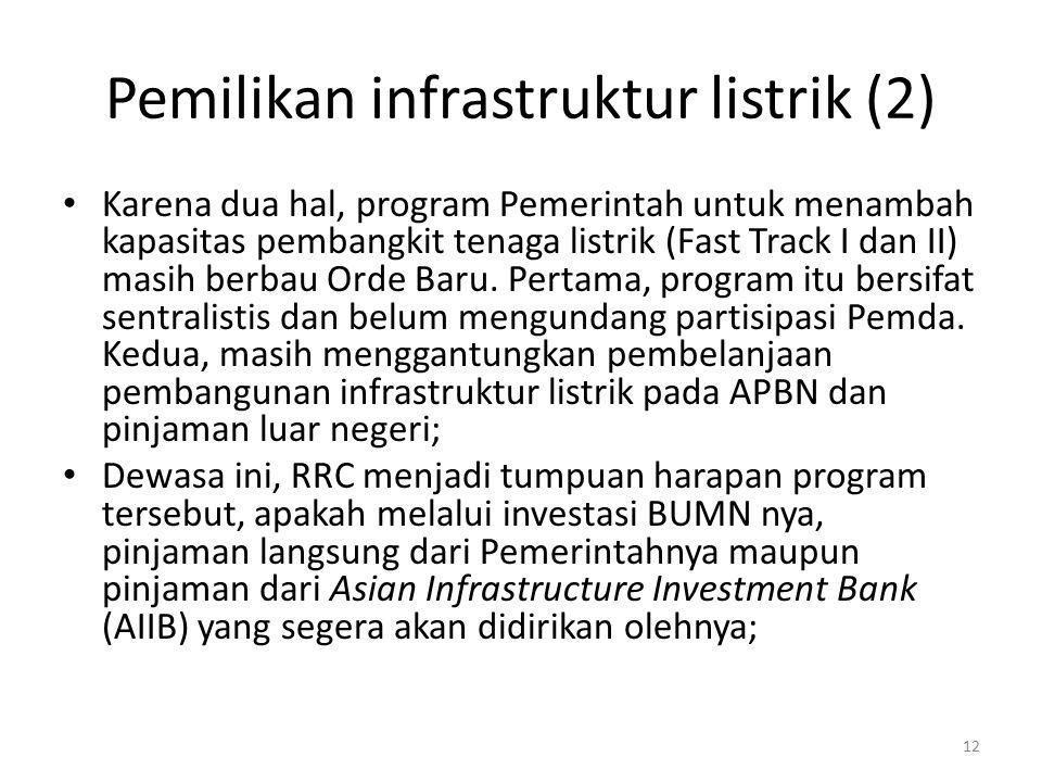 Pemilikan infrastruktur listrik (2) Karena dua hal, program Pemerintah untuk menambah kapasitas pembangkit tenaga listrik (Fast Track I dan II) masih