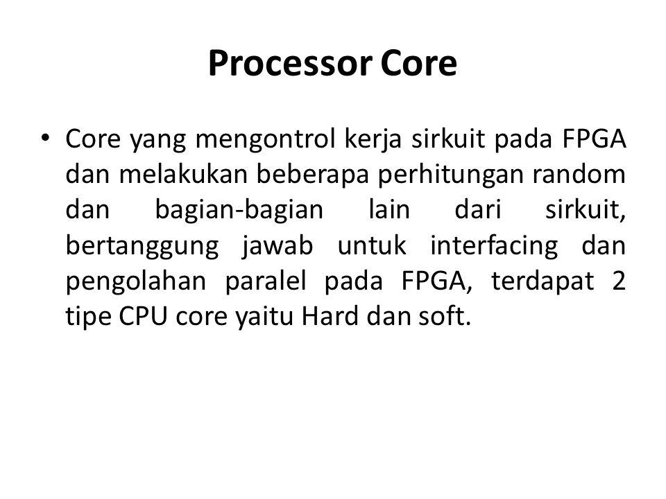 Processor Core Core yang mengontrol kerja sirkuit pada FPGA dan melakukan beberapa perhitungan random dan bagian-bagian lain dari sirkuit, bertanggung