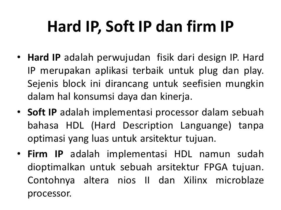 Hard IP, Soft IP dan firm IP Hard IP adalah perwujudan fisik dari design IP. Hard IP merupakan aplikasi terbaik untuk plug dan play. Sejenis block ini