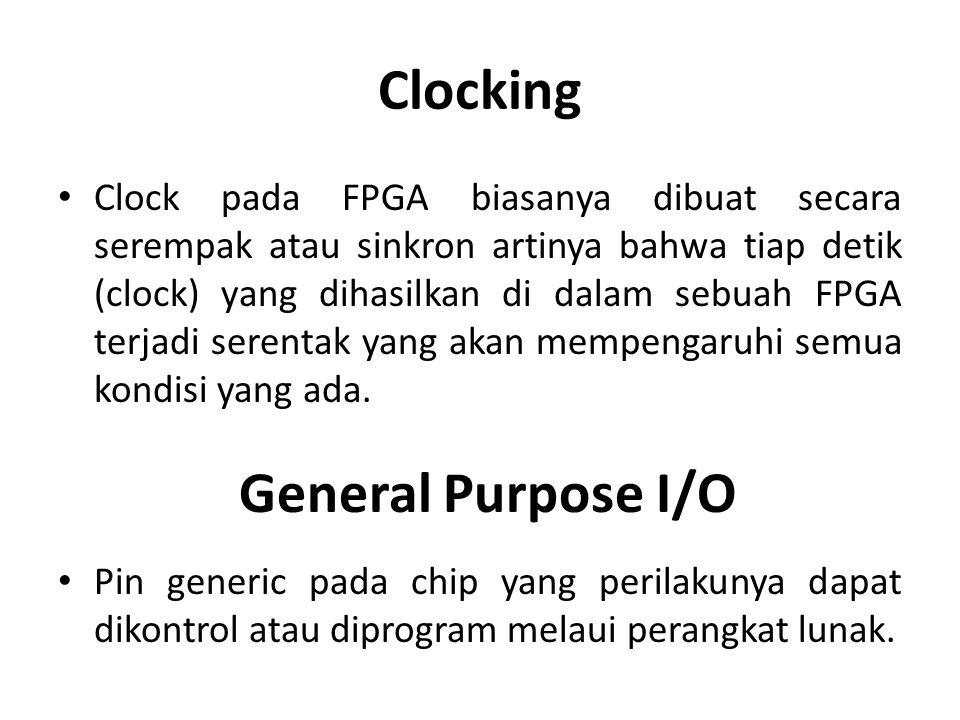 Clocking Clock pada FPGA biasanya dibuat secara serempak atau sinkron artinya bahwa tiap detik (clock) yang dihasilkan di dalam sebuah FPGA terjadi se