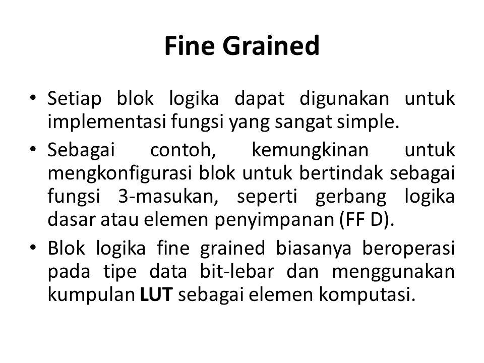 Fine Grained Setiap blok logika dapat digunakan untuk implementasi fungsi yang sangat simple. Sebagai contoh, kemungkinan untuk mengkonfigurasi blok u