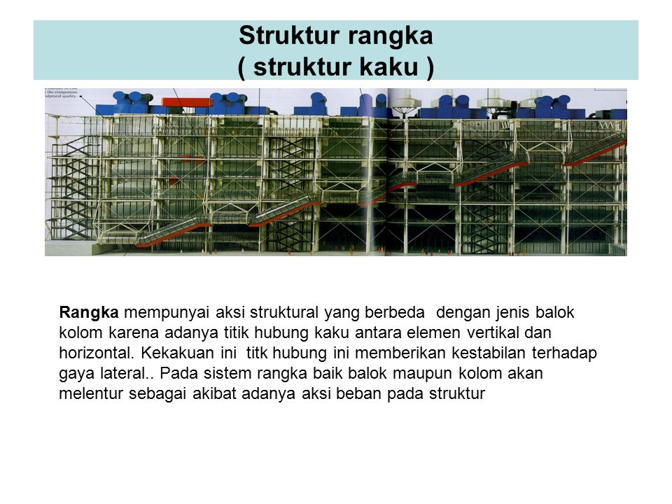 Struktur rangka ( struktur kaku ) Rangka mempunyai aksi struktural yang berbeda dengan jenis balok kolom karena adanya titik hubung kaku antara elemen vertikal dan horizontal.