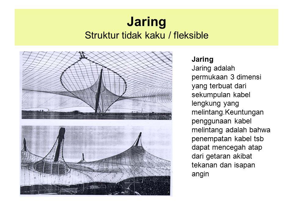 Jaring Struktur tidak kaku / fleksible Jaring Jaring adalah permukaan 3 dimensi yang terbuat dari sekumpulan kabel lengkung yang melintang.Keuntungan