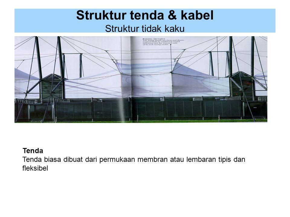 Struktur tenda & kabel Struktur tidak kaku Tenda Tenda biasa dibuat dari permukaan membran atau lembaran tipis dan fleksibel