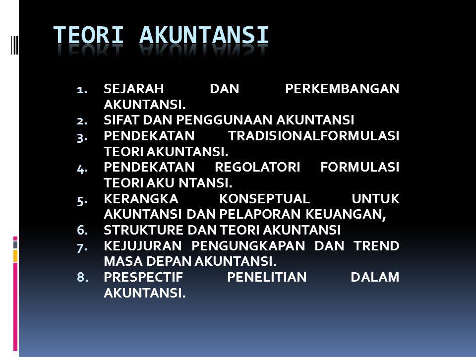 1. SEJARAH DAN PERKEMBANGAN AKUNTANSI. 2. SIFAT DAN PENGGUNAAN AKUNTANSI 3. PENDEKATAN TRADISIONALFORMULASI TEORI AKUNTANSI. 4. PENDEKATAN REGOLATORI