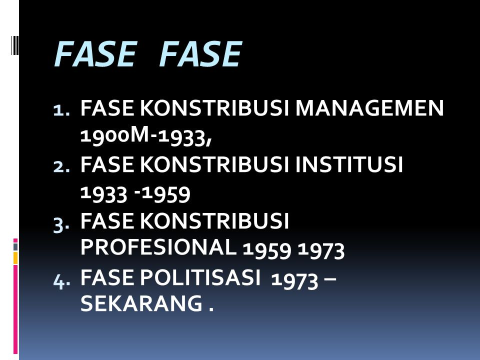 FASE 1.FASE KONSTRIBUSI MANAGEMEN 1900M-1933, 2. FASE KONSTRIBUSI INSTITUSI 1933 -1959 3.