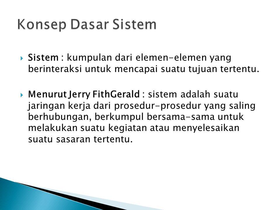  Sistem : kumpulan dari elemen-elemen yang berinteraksi untuk mencapai suatu tujuan tertentu.  Menurut Jerry FithGerald : sistem adalah suatu jaring