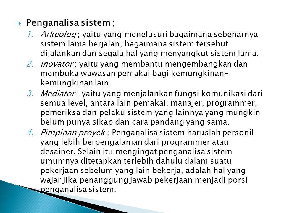  Penganalisa sistem ; 1.Arkeolog ; yaitu yang menelusuri bagaimana sebenarnya sistem lama berjalan, bagaimana sistem tersebut dijalankan dan segala h