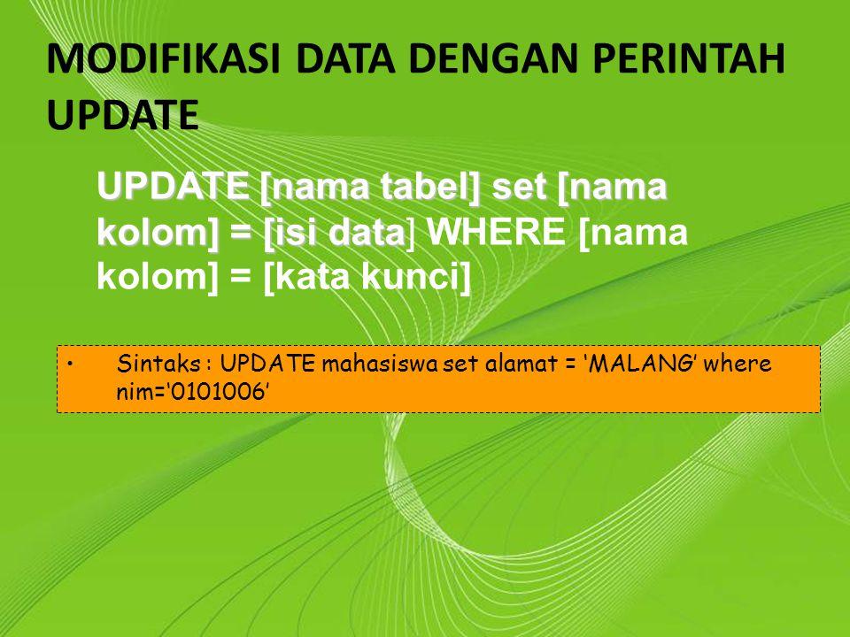 Powerpoint Templates Page 11 Powerpoint Templates MODIFIKASI DATA DENGAN PERINTAH UPDATE UPDATE [nama tabel] set [nama kolom] = [isi data UPDATE [nama