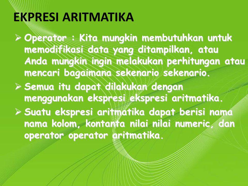 Powerpoint Templates Page 13 Powerpoint Templates EKPRESI ARITMATIKA  Operator : Kita mungkin membutuhkan untuk memodifikasi data yang ditampilkan, a