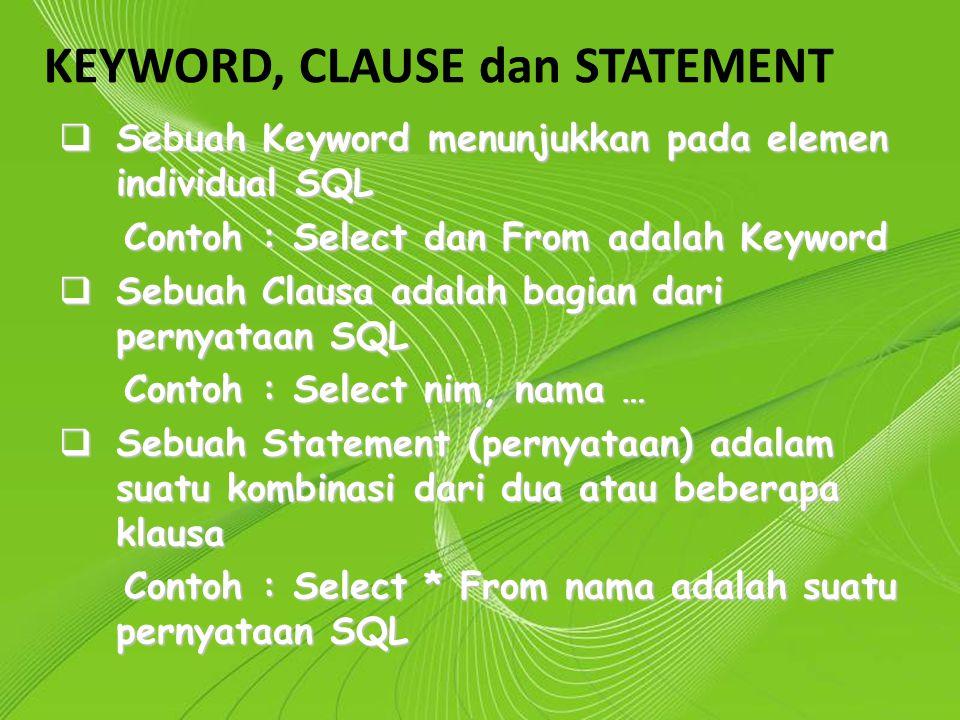 Powerpoint Templates Page 6 Powerpoint Templates KEYWORD, CLAUSE dan STATEMENT  Sebuah Keyword menunjukkan pada elemen individual SQL Contoh : Select