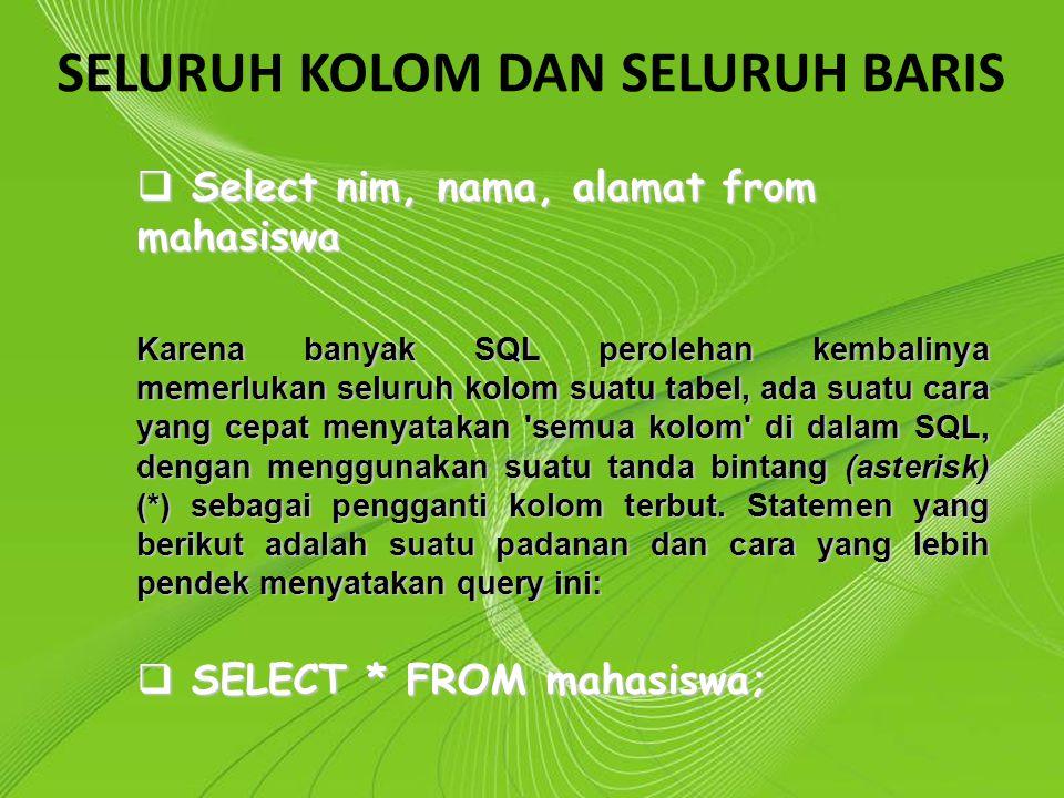 Powerpoint Templates Page 8 Powerpoint Templates SELURUH KOLOM DAN SELURUH BARIS  Select nim, nama, alamat from mahasiswa Karena banyak SQL perolehan