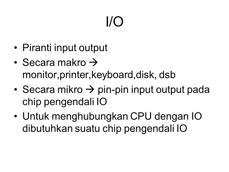 I/O Piranti input output Secara makro  monitor,printer,keyboard,disk, dsb Secara mikro  pin-pin input output pada chip pengendali IO Untuk menghubungkan CPU dengan IO dibutuhkan suatu chip pengendali IO