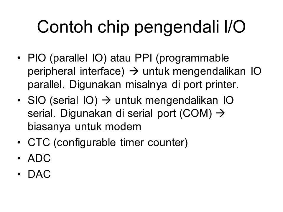 Contoh chip pengendali I/O PIO (parallel IO) atau PPI (programmable peripheral interface)  untuk mengendalikan IO parallel.