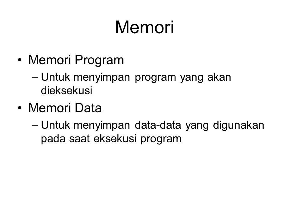 Memori Memori Program –Untuk menyimpan program yang akan dieksekusi Memori Data –Untuk menyimpan data-data yang digunakan pada saat eksekusi program