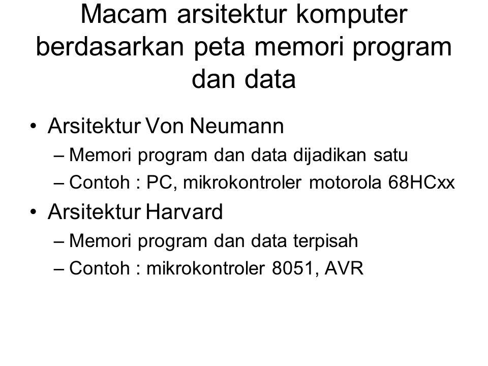 Macam arsitektur komputer berdasarkan peta memori program dan data Arsitektur Von Neumann –Memori program dan data dijadikan satu –Contoh : PC, mikrokontroler motorola 68HCxx Arsitektur Harvard –Memori program dan data terpisah –Contoh : mikrokontroler 8051, AVR