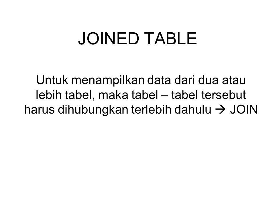 Bentuk umum JOIN SELECT table1.column, table2.column FROM tabel1, tabel2 WHERE tabel1.column=table2.column; Atau SELECT table1.column, table2.column FROM tabel1 [type join] tabel2 On tabel1.column=table2.column;