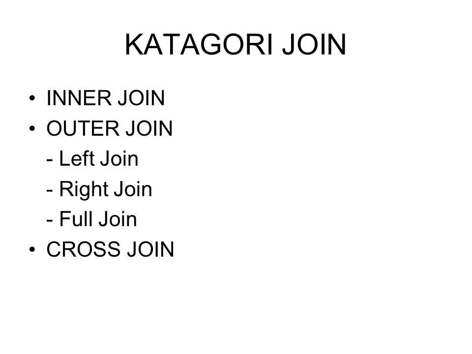 KATAGORI JOIN INNER JOIN OUTER JOIN - Left Join - Right Join - Full Join CROSS JOIN
