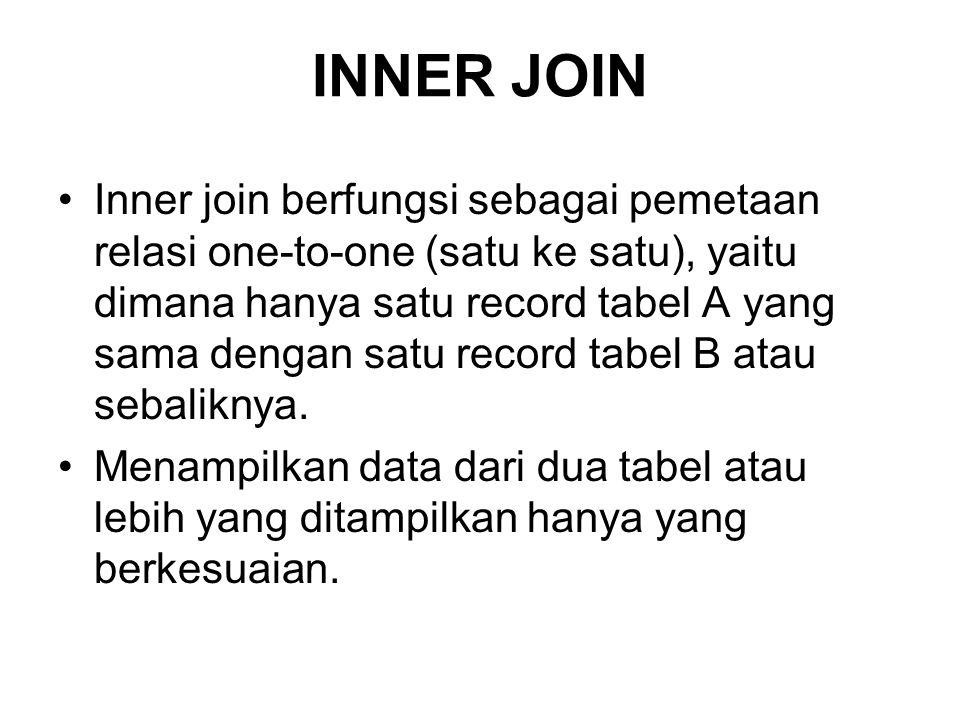 INNER JOIN Inner join berfungsi sebagai pemetaan relasi one-to-one (satu ke satu), yaitu dimana hanya satu record tabel A yang sama dengan satu record