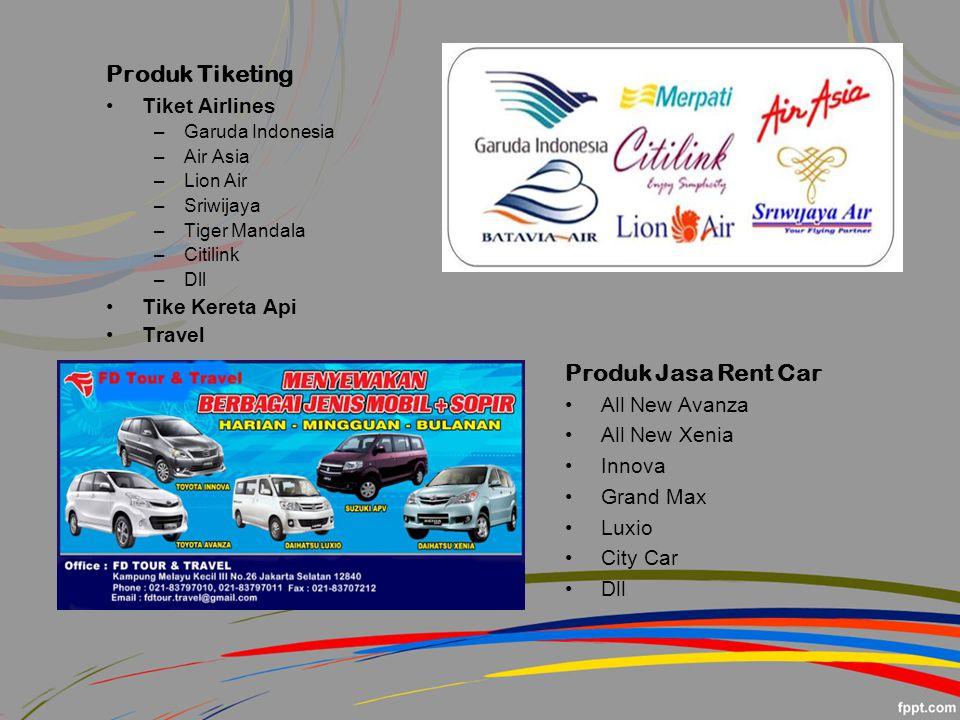 Produk Tiketing Tiket Airlines –Garuda Indonesia –Air Asia –Lion Air –Sriwijaya –Tiger Mandala –Citilink –Dll Tike Kereta Api Travel Produk Jasa Rent Car All New Avanza All New Xenia Innova Grand Max Luxio City Car Dll