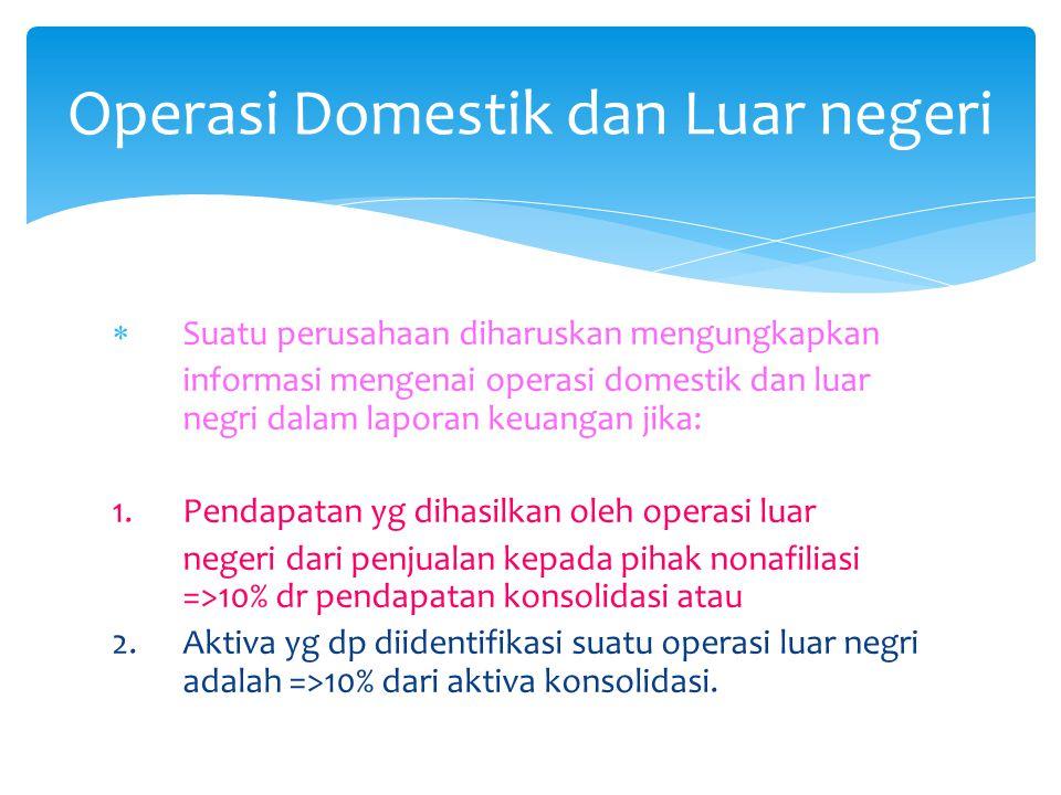  Suatu perusahaan diharuskan mengungkapkan informasi mengenai operasi domestik dan luar negri dalam laporan keuangan jika: 1. Pendapatan yg dihasilka