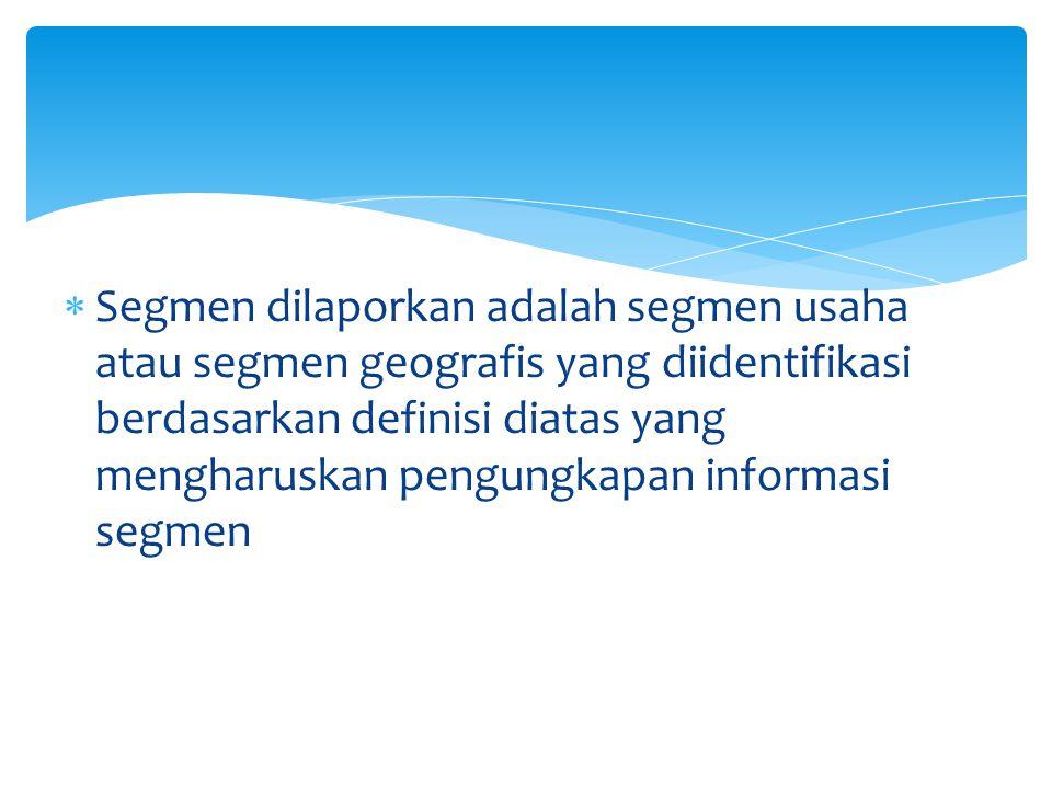 Informasi Segmen harus mengungkap: (1) Penjualan atau pendapatan operasi lainnya, dibedakan antara pendapatan yang dihasilkan Dari pelanggan diluar perush dan pendpatan Dari segmen lain (2) Hasil Segmen (3) Aset segmen yang digunakan (4) Dasar penetapan harga antar segmen