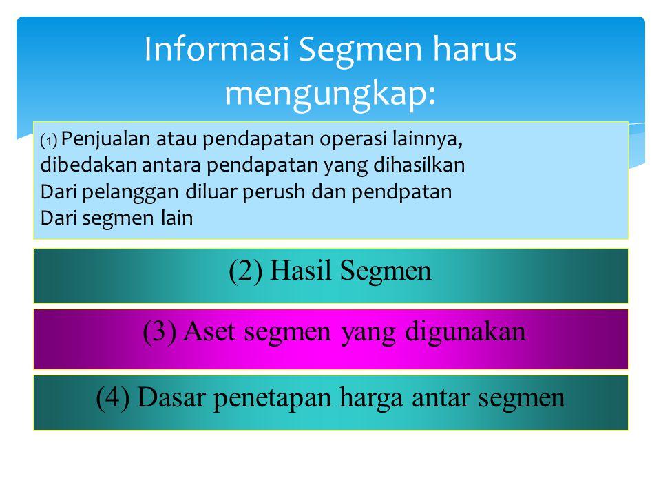 Informasi Segmen harus mengungkap: (1) Penjualan atau pendapatan operasi lainnya, dibedakan antara pendapatan yang dihasilkan Dari pelanggan diluar pe