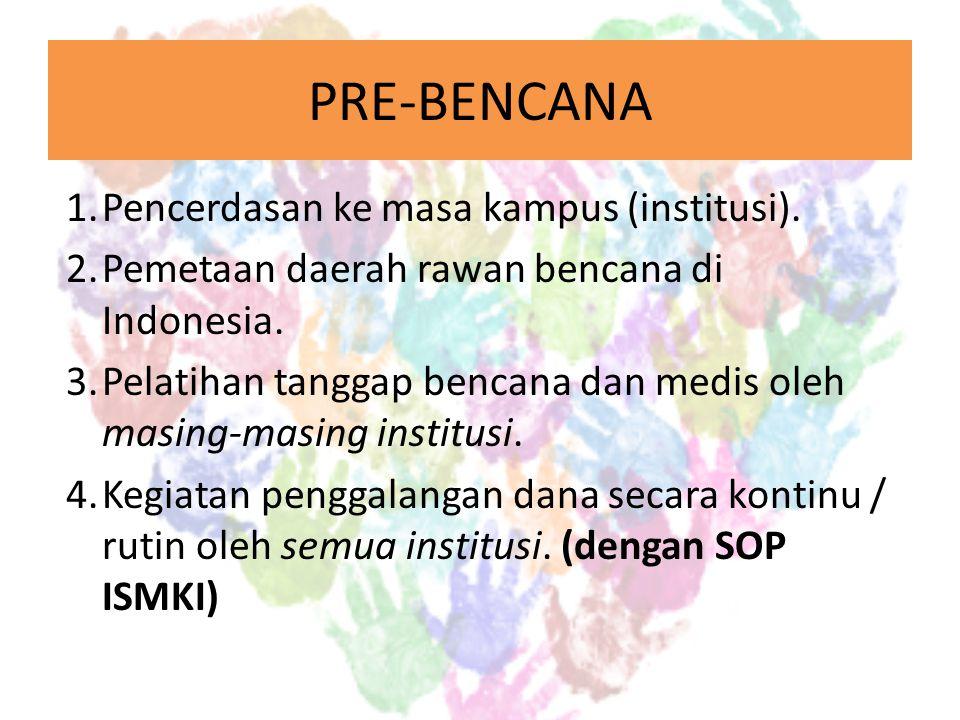 PRE-BENCANA 1.Pencerdasan ke masa kampus (institusi).