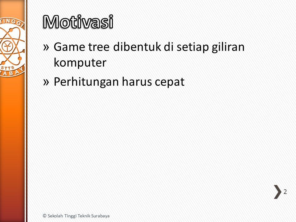 » Game tree dibentuk di setiap giliran komputer » Perhitungan harus cepat 2 © Sekolah Tinggi Teknik Surabaya