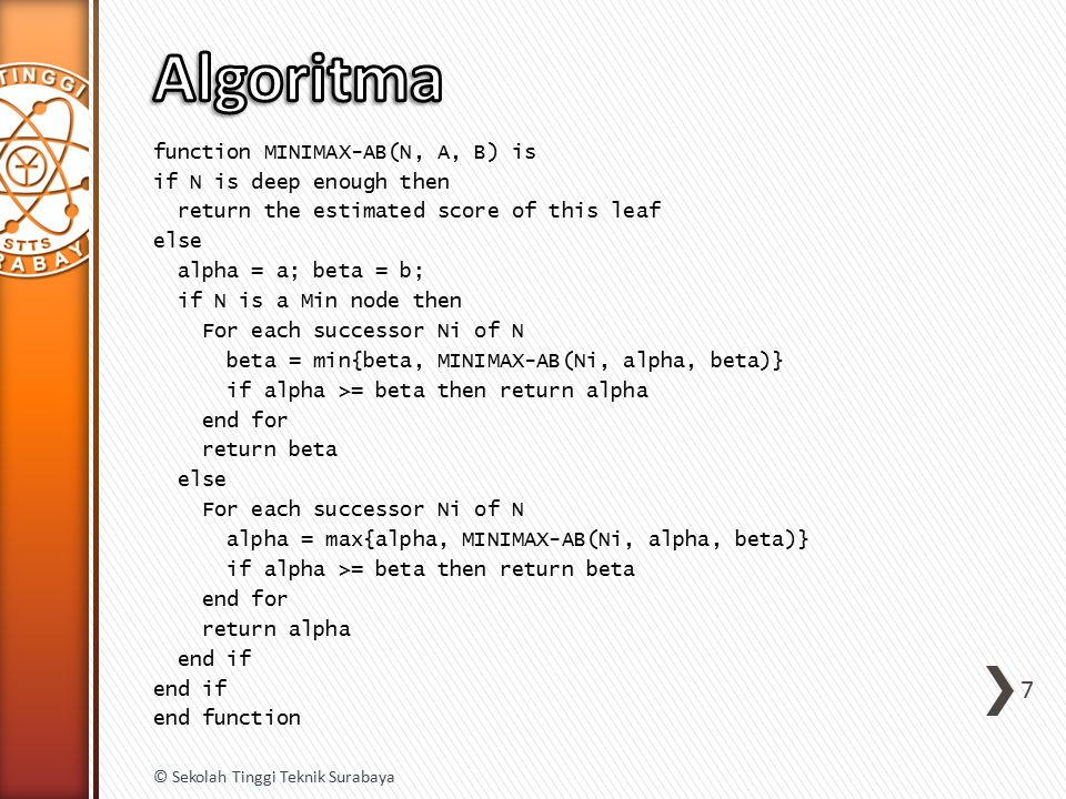 function MINIMAX-AB(N, A, B) is if N is deep enough then return the estimated score of this leaf else alpha = a; beta = b; if N is a Min node then For