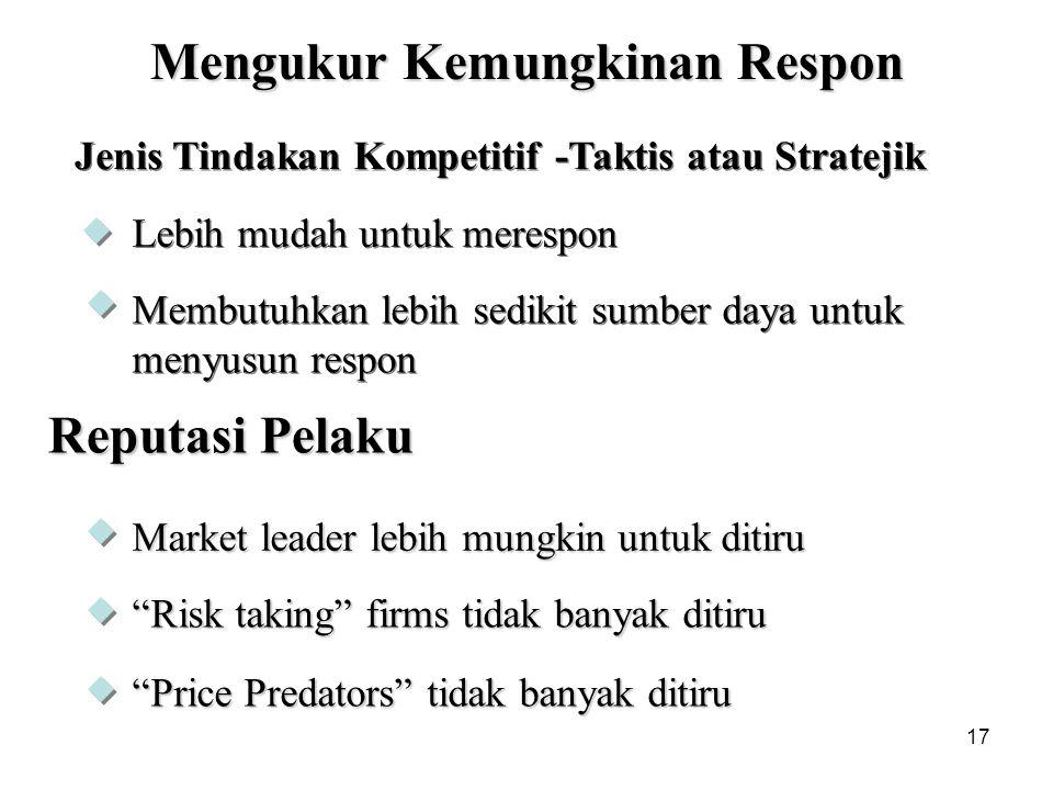 """17 Mengukur Kemungkinan Respon Reputasi Pelaku Market leader lebih mungkin untuk ditiru """"Risk taking"""" firms tidak banyak ditiru """"Price Predators"""" tida"""