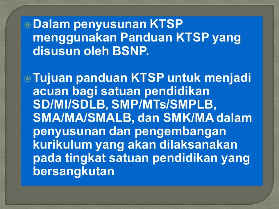  Dalam penyusunan KTSP menggunakan Panduan KTSP yang disusun oleh BSNP.