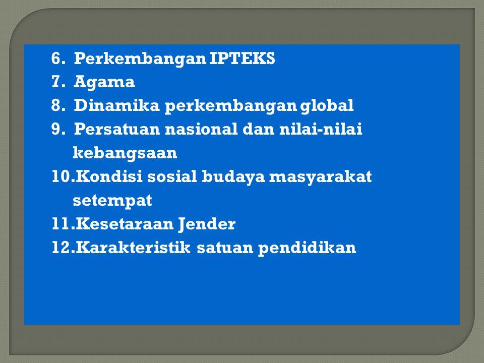 6.Perkembangan IPTEKS 7. Agama 8. Dinamika perkembangan global 9.