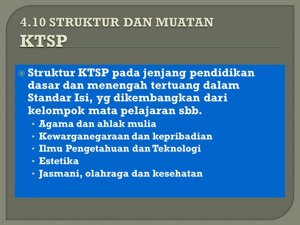  Struktur KTSP pada jenjang pendidikan dasar dan menengah tertuang dalam Standar Isi, yg dikembangkan dari kelompok mata pelajaran sbb.