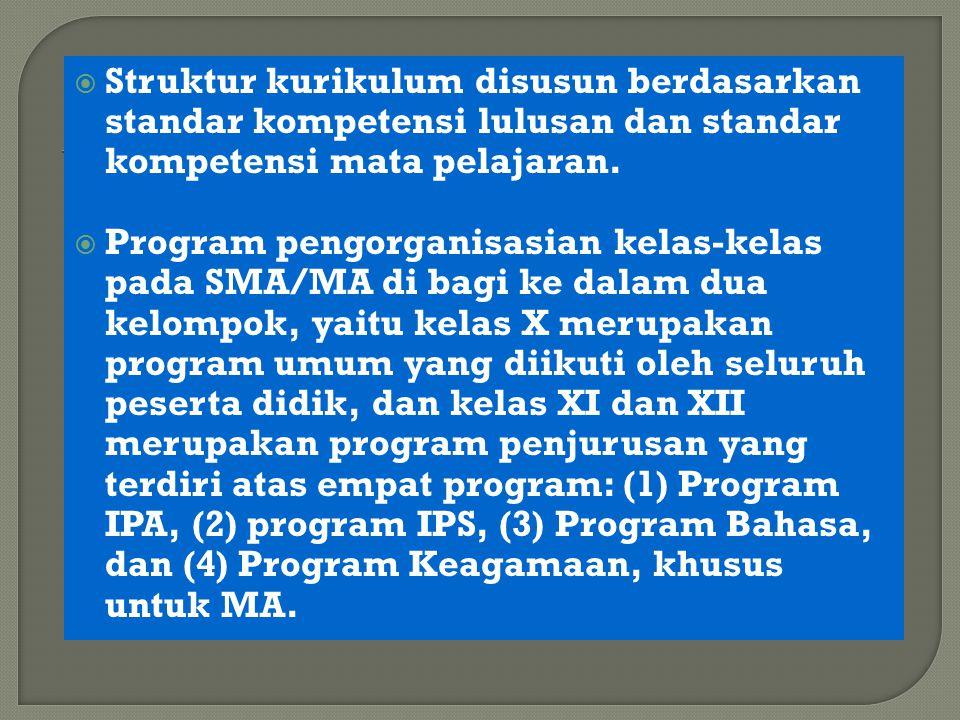  Struktur kurikulum disusun berdasarkan standar kompetensi lulusan dan standar kompetensi mata pelajaran.