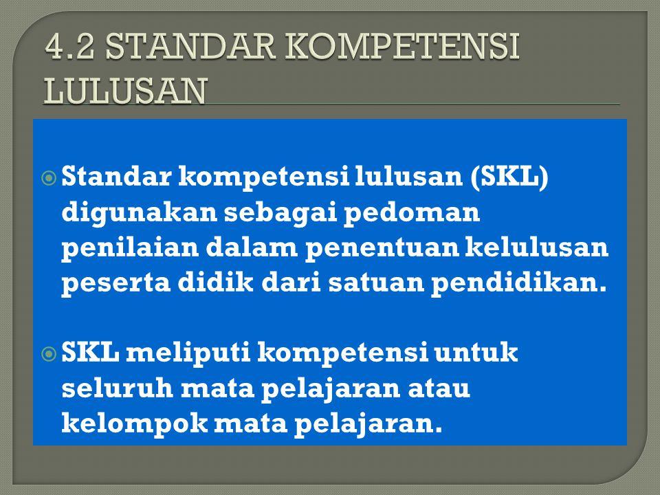  Standar kompetensi lulusan (SKL) digunakan sebagai pedoman penilaian dalam penentuan kelulusan peserta didik dari satuan pendidikan.