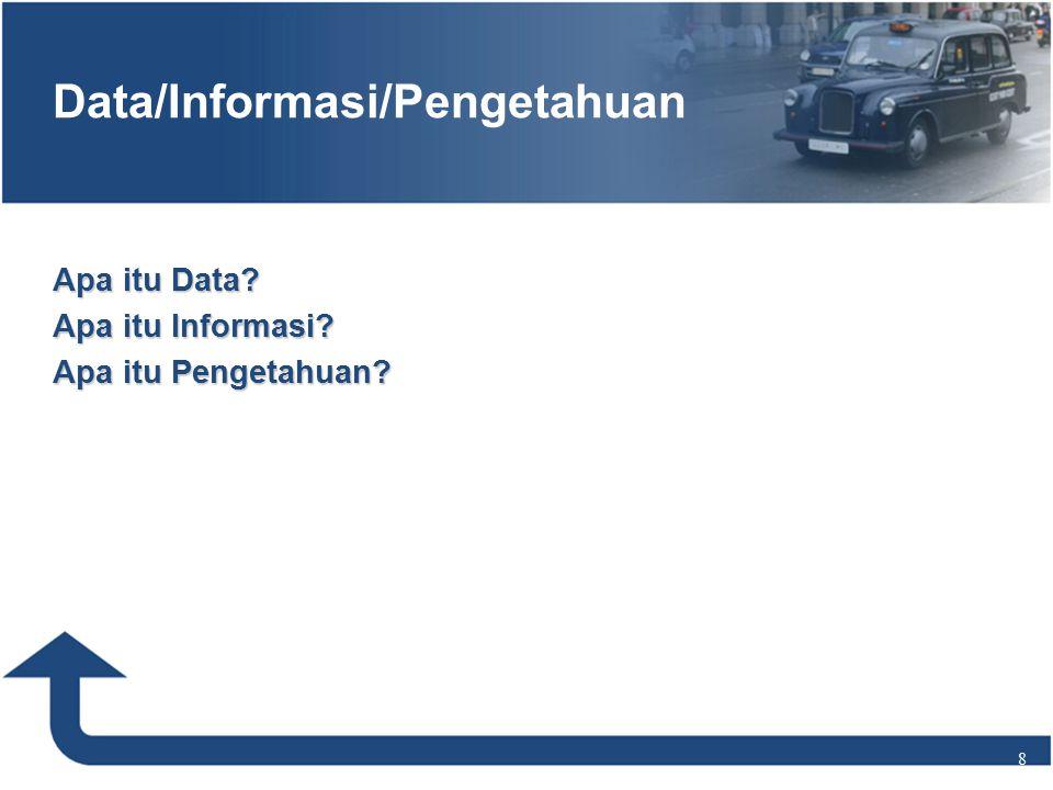 Apa itu Data Apa itu Informasi Apa itu Pengetahuan 8 Data/Informasi/Pengetahuan