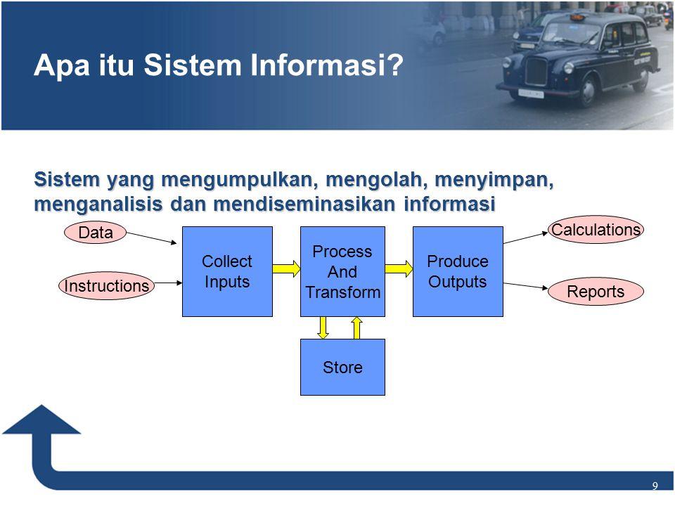 Sistem yang mengumpulkan, mengolah, menyimpan, menganalisis dan mendiseminasikan informasi 9 Apa itu Sistem Informasi.
