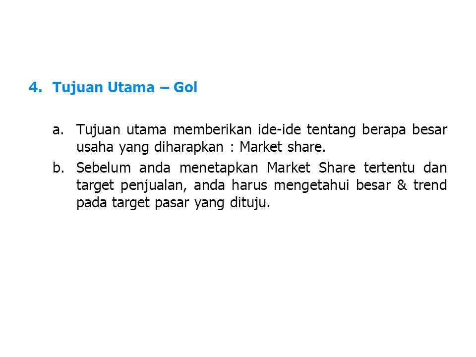 LDKJFAK 4.Tujuan Utama – Gol a.Tujuan utama memberikan ide-ide tentang berapa besar usaha yang diharapkan : Market share.