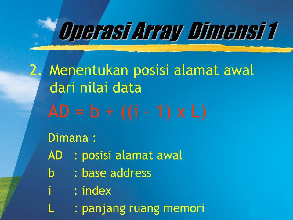 Operasi Array Dimensi 1 2. Menentukan posisi alamat awal dari nilai data AD = b + ((i – 1) x L) Dimana : AD: posisi alamat awal b: base address i: ind