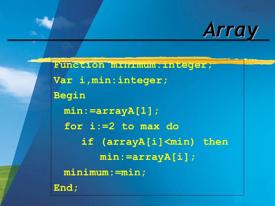 Array Function minimum:integer; Var i,min:integer; Begin min:=arrayA[1]; for i:=2 to max do if (arrayA[i]<min) then min:=arrayA[i]; minimum:=min; End;