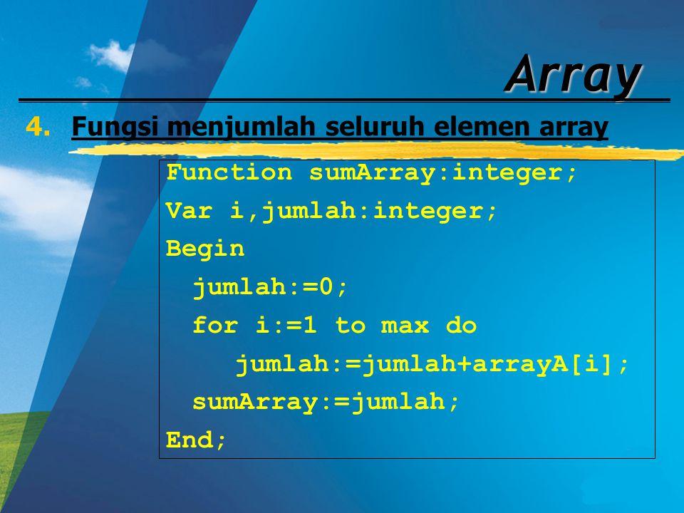 Array 4.Fungsi menjumlah seluruh elemen array Function sumArray:integer; Var i,jumlah:integer; Begin jumlah:=0; for i:=1 to max do jumlah:=jumlah+arra