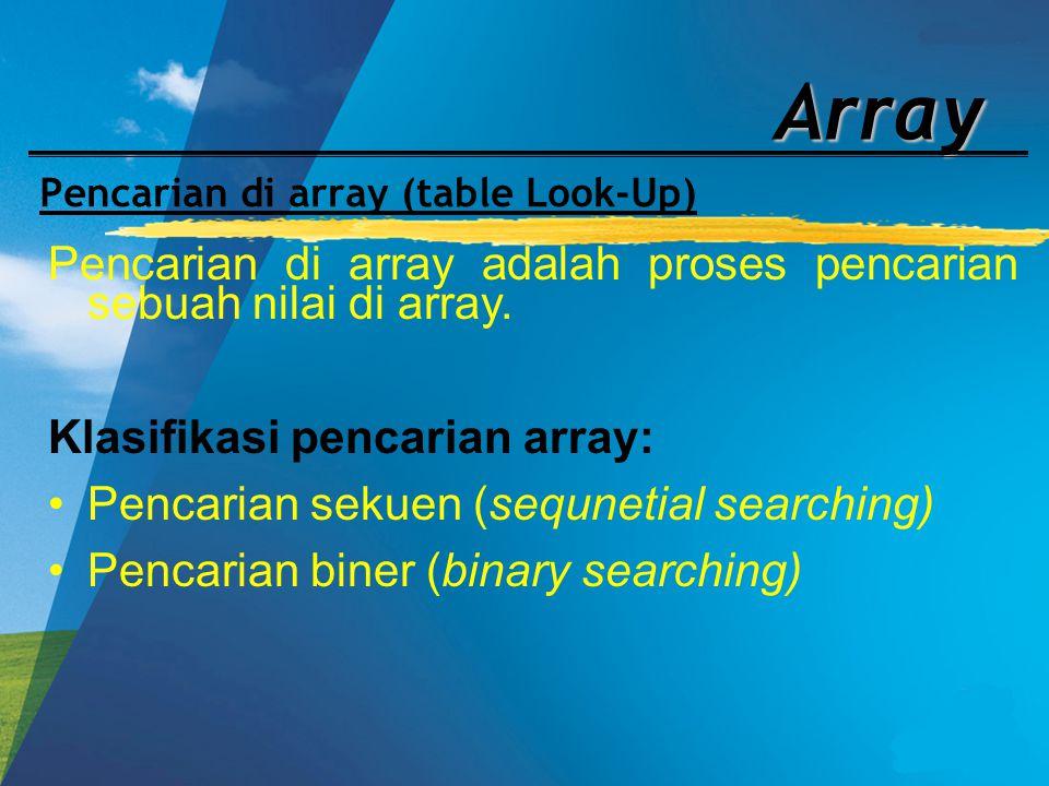 Array Pencarian di array (table Look-Up) Pencarian di array adalah proses pencarian sebuah nilai di array. Klasifikasi pencarian array: Pencarian seku