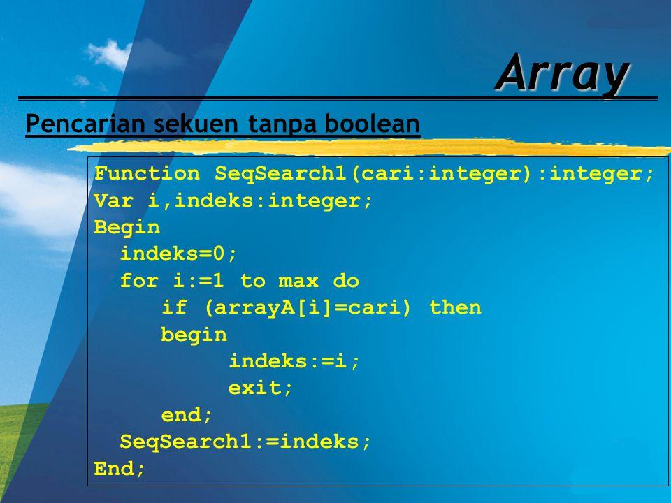 Array Pencarian sekuen tanpa boolean Function SeqSearch1(cari:integer):integer; Var i,indeks:integer; Begin indeks=0; for i:=1 to max do if (arrayA[i]