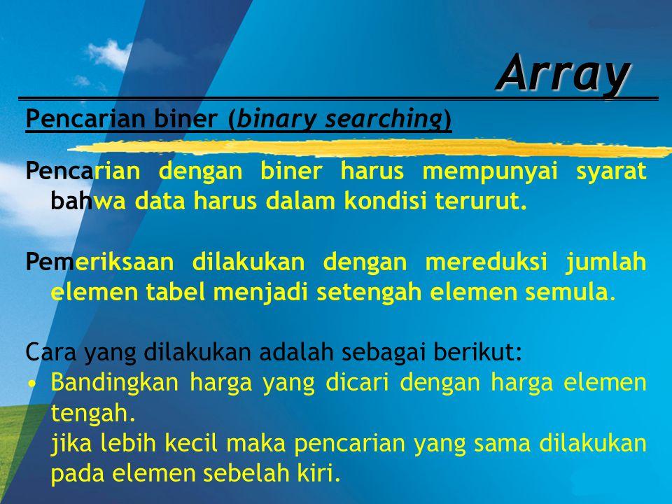 Array Pencarian biner (binary searching) Pencarian dengan biner harus mempunyai syarat bahwa data harus dalam kondisi terurut. Pemeriksaan dilakukan d