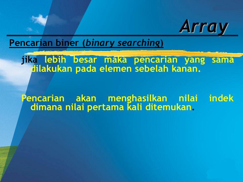 Array Pencarian biner (binary searching) jika lebih besar maka pencarian yang sama dilakukan pada elemen sebelah kanan. Pencarian akan menghasilkan ni