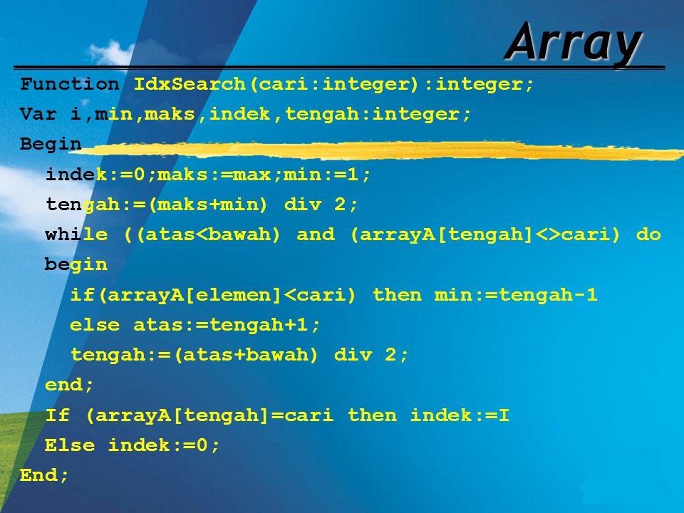 Array Function IdxSearch(cari:integer):integer; Var i,min,maks,indek,tengah:integer; Begin indek:=0;maks:=max;min:=1; tengah:=(maks+min) div 2; while